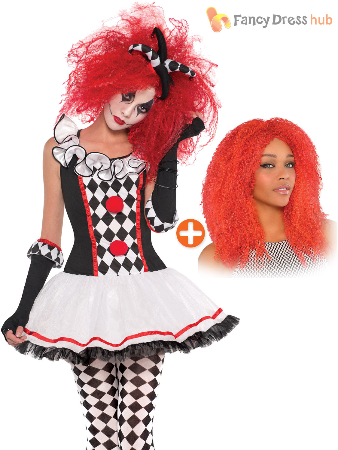 Ladies harlequin jester costume wig halloween circus womens fancy ladies harlequin jester costume wig halloween circus womens solutioingenieria Image collections
