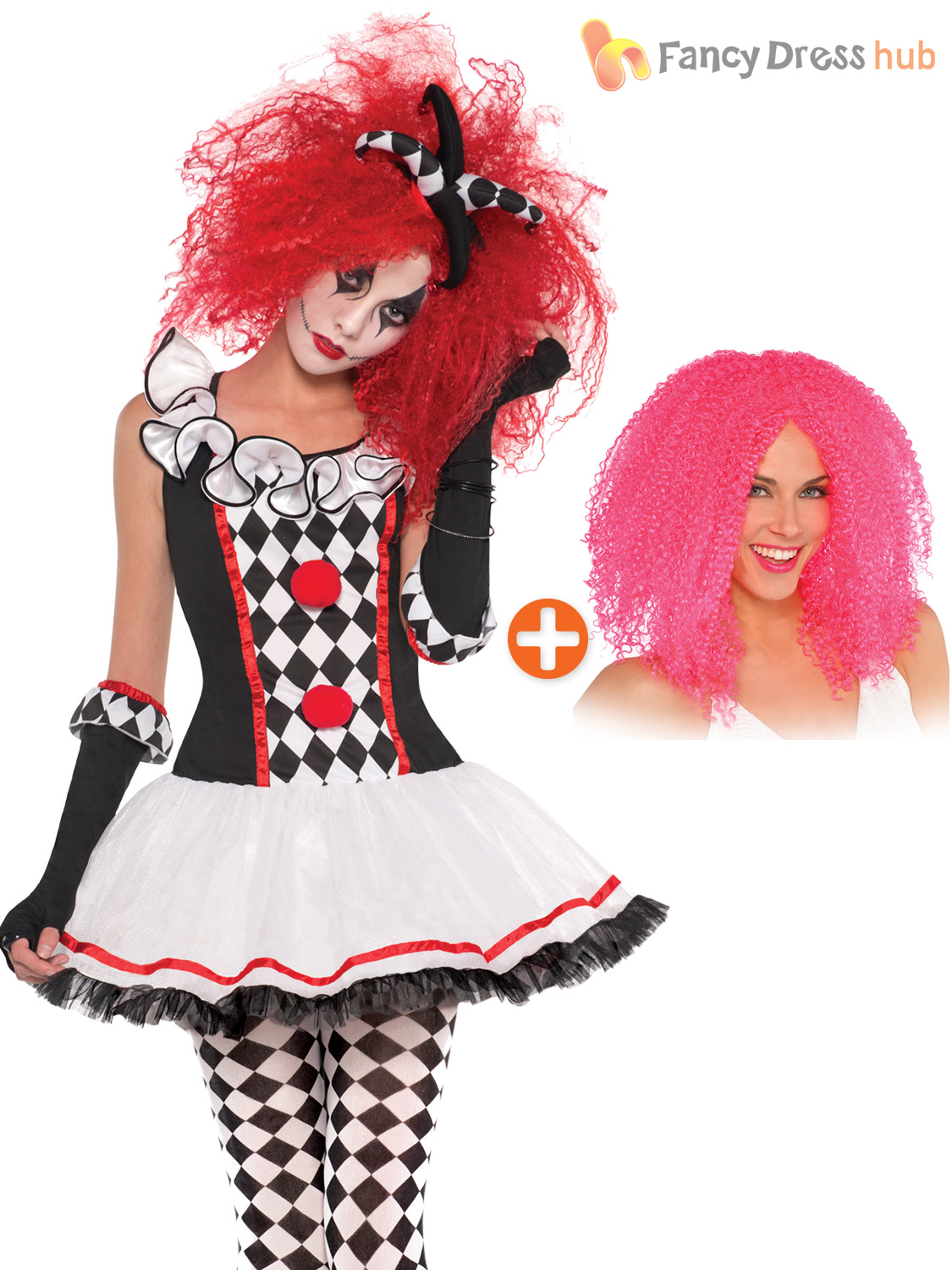 Harlequin Jester Circus Clown Black Red Wavy Costume Wig