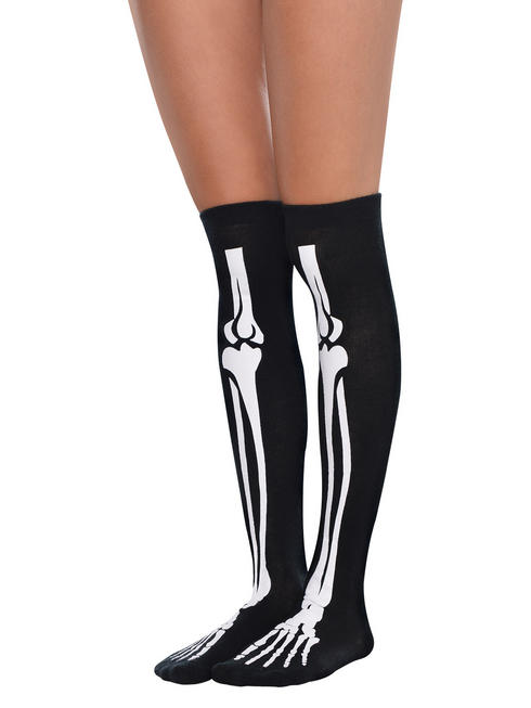Ladies Skeleton Over the Knee Socks