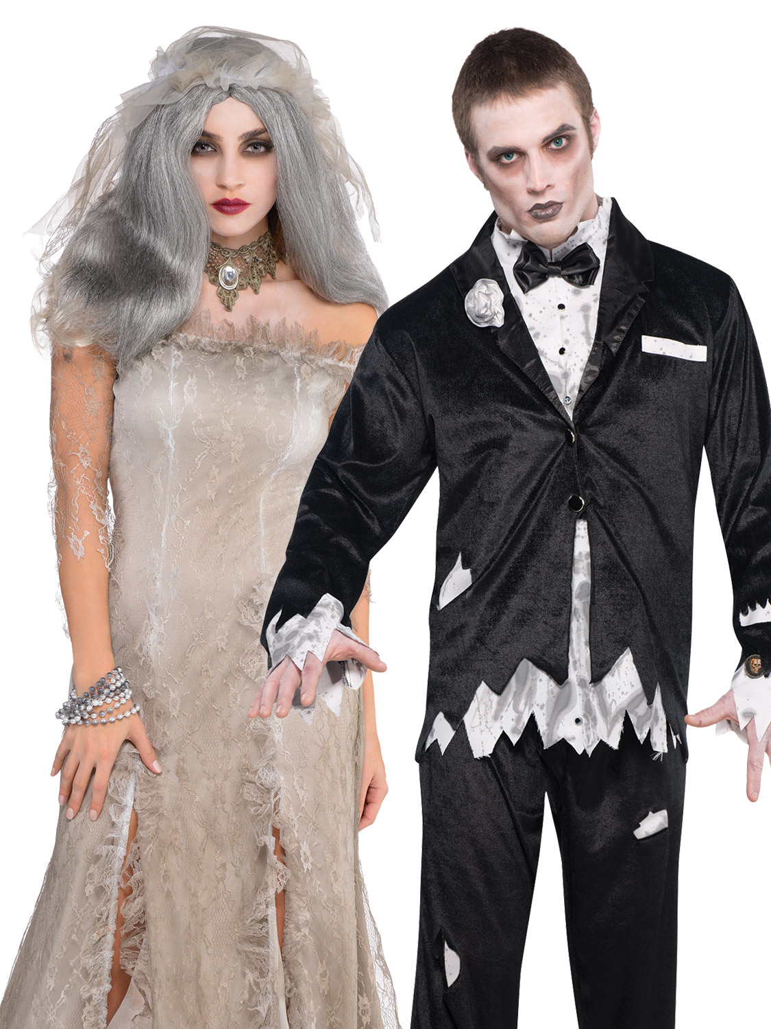 5c45bb20448 Details about Ladies Mens Corpse Bride and Zombie Groom Halloween Fancy  Dress Costume Couples