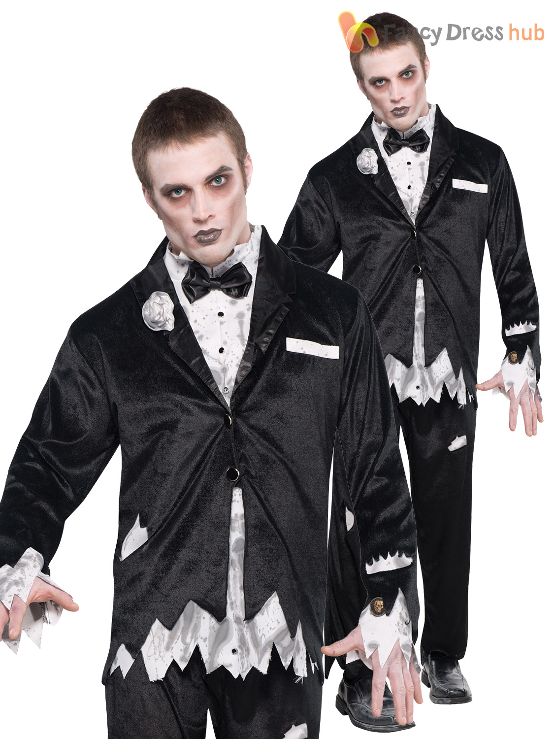 Couples Ladies and Mens Corpse Dead Bride /& Groom Fancy Dress Costumes Outfits