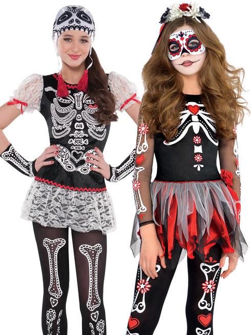 Girl's Sassy Skeleton Costume