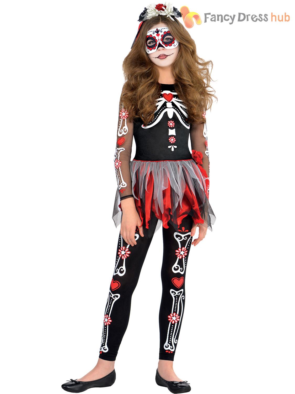 Girls Teen Day Of The Dead Skeleton Mexican Halloween Fancy Dress ...