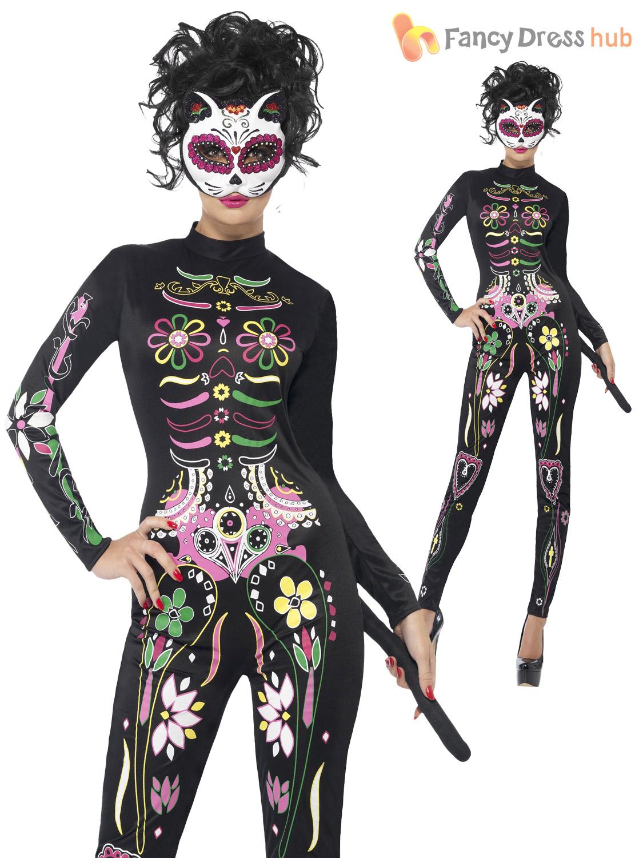 Sugar Skull Bodysuit Cat Day The Dead Halloween Fancy Dress Outfit ...