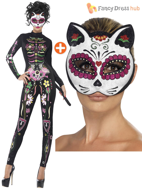 ladies sugar skull cat jump suit halloween fancy