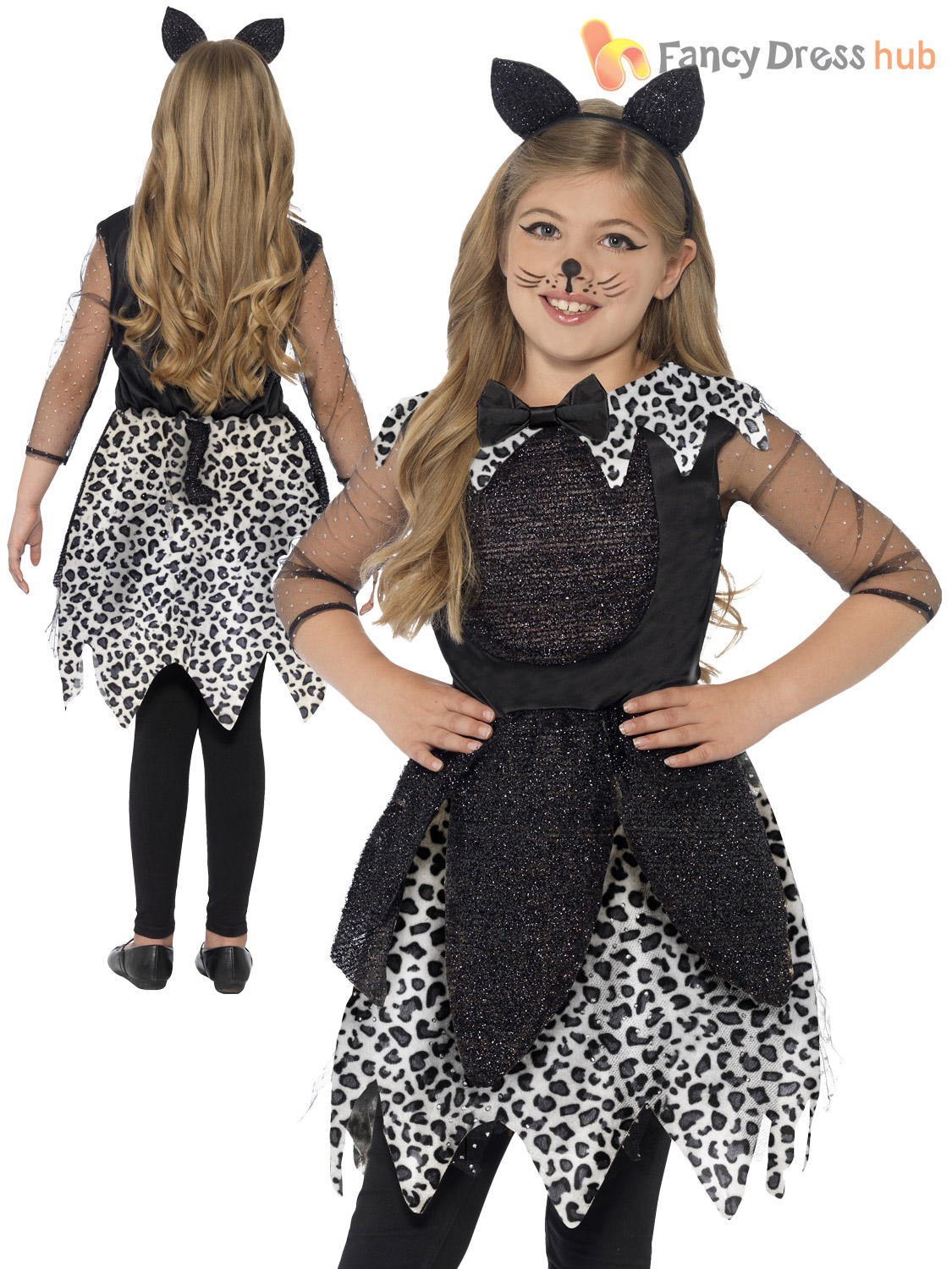 girls deluxe black cat glittery halloween costume kids