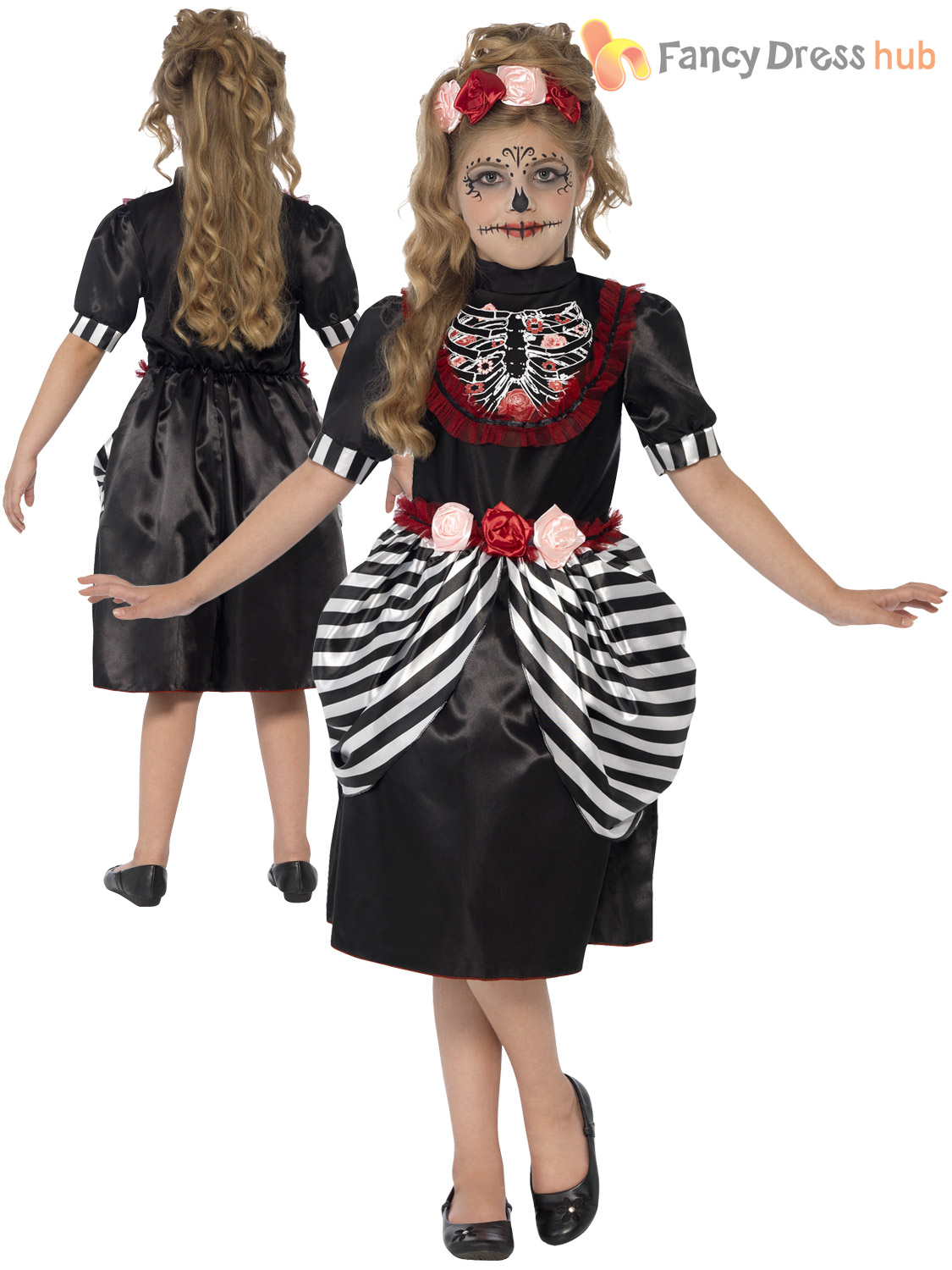 age 4-12 girls skeleton sugar skull halloween fancy dress kids
