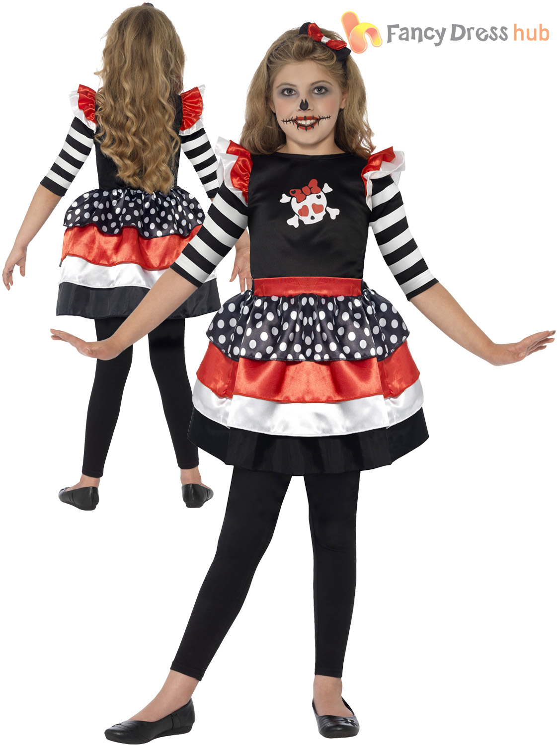 Girls Day Of The Dead Sugar Skull Halloween Party Fancy Dress Costume Ages 4-12