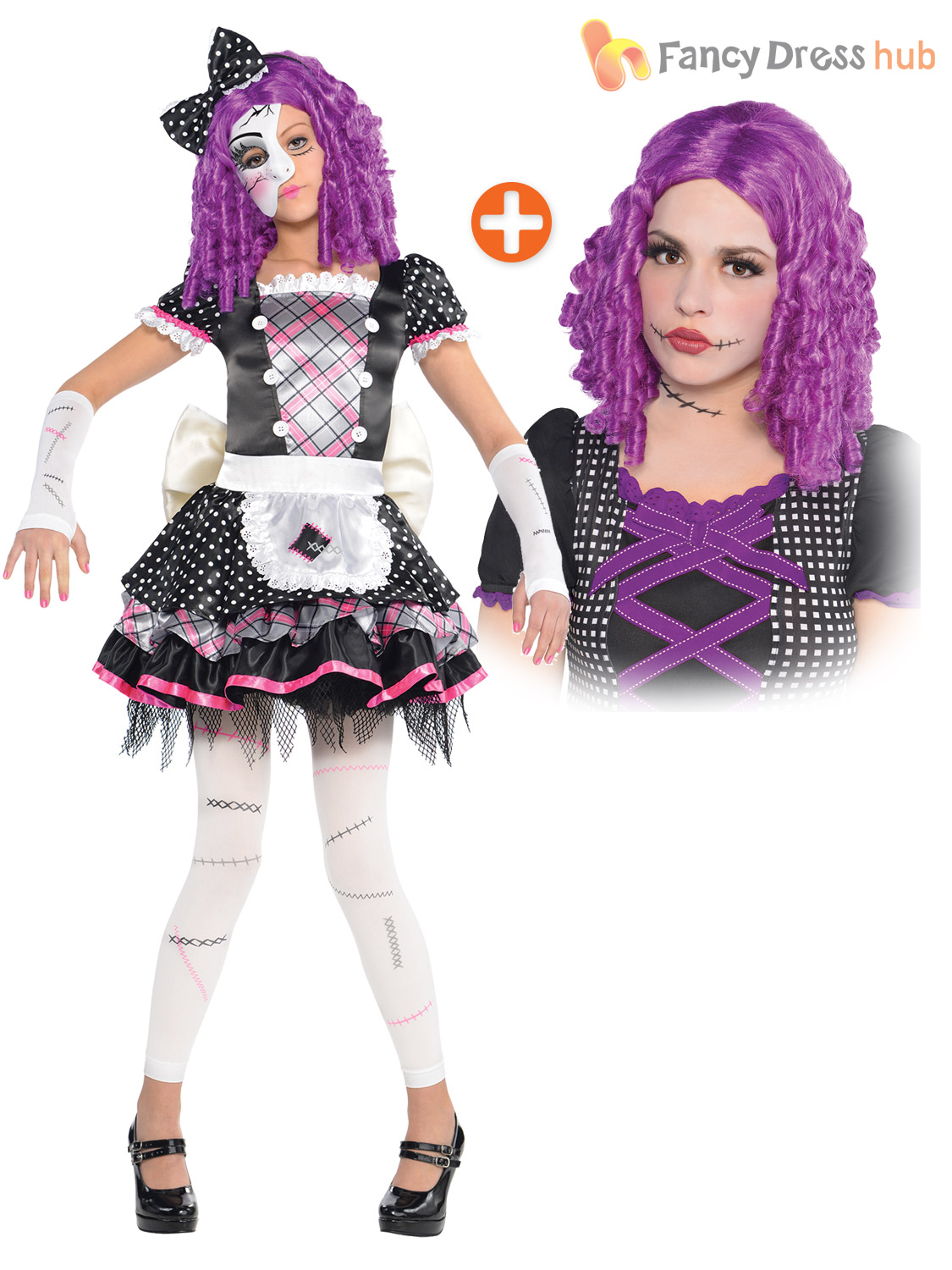 girls broken damaged doll halloween costume zombie kids fancy dress
