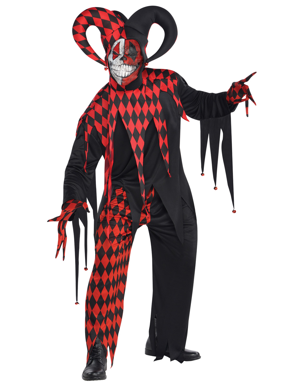 Evil Jester Mens Fancy Dress Medieval Circus Clown Joker Adults Halloween Cosume