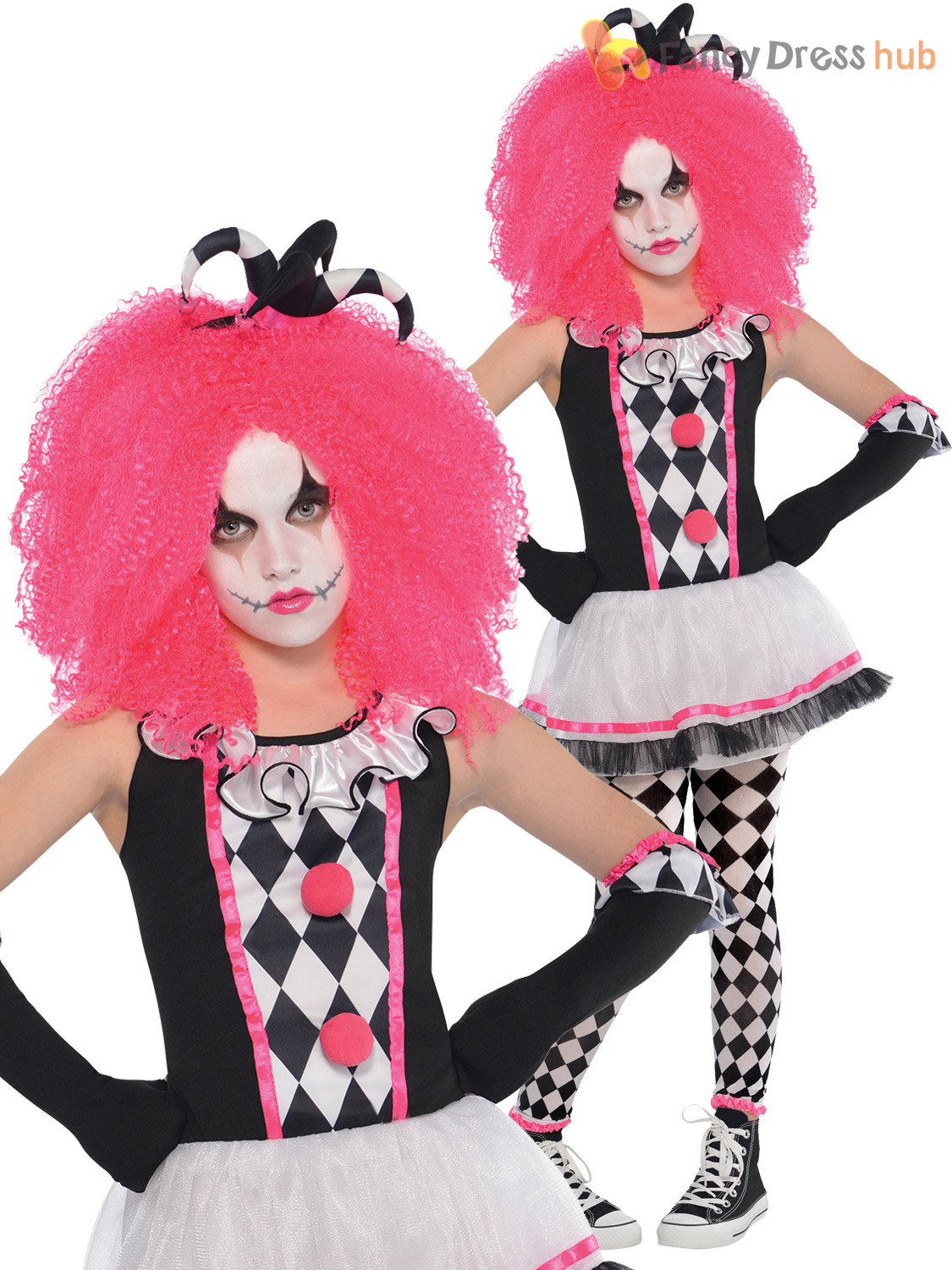 ... Picture 2 of 4; Picture 3 ...  sc 1 st  eBay & Girls Circus Sweetie Clown Harlequin Honey Jester Halloween Fancy ...