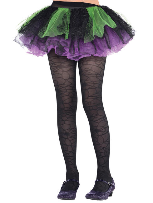 Girl's Black Spider Tights