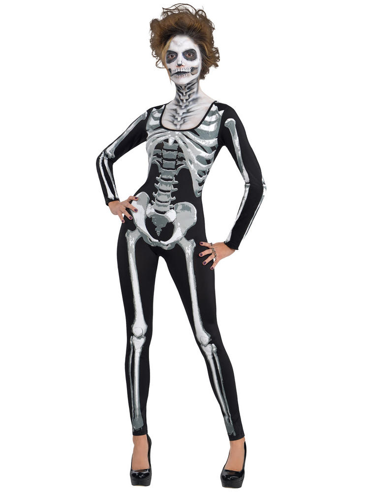 Ladies Black & Bone Skeleton Catsuit