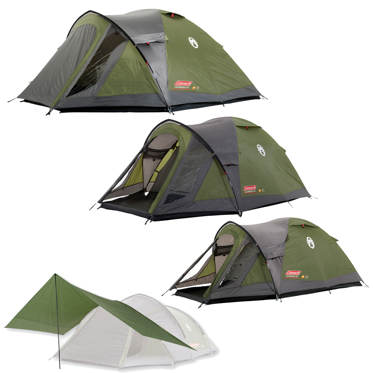 31b9ec069 Details about Coleman Darwin Plus Tent 2 3 4 Man Person Dome Tent With  Extended Porch Camping