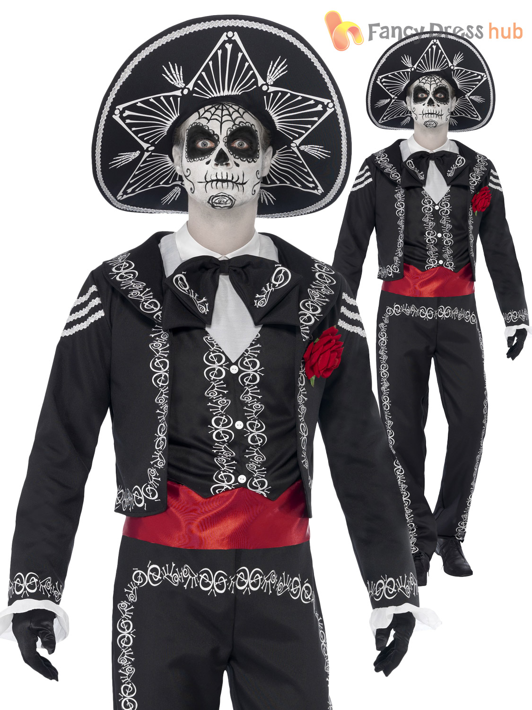 mens senor day of the dead costume halloween skeleton bond