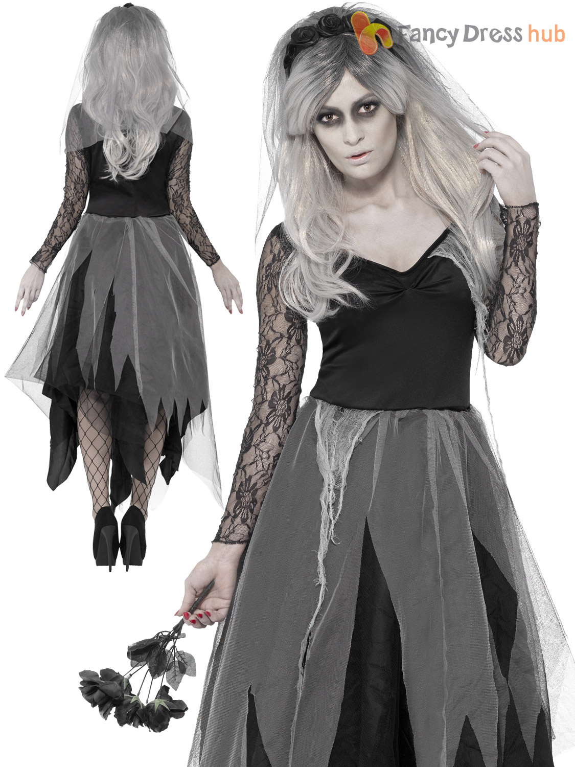 Ladies-Zombie-Corpse-Bride-Costume-Womens-Halloween-Fancy-  sc 1 st  eBay & Ladies Zombie Corpse Bride Costume Womens Halloween Fancy Dress Plus ...