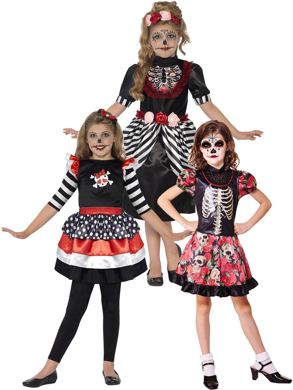 girls skeleton sugar skull halloween fancy dress day of the dead