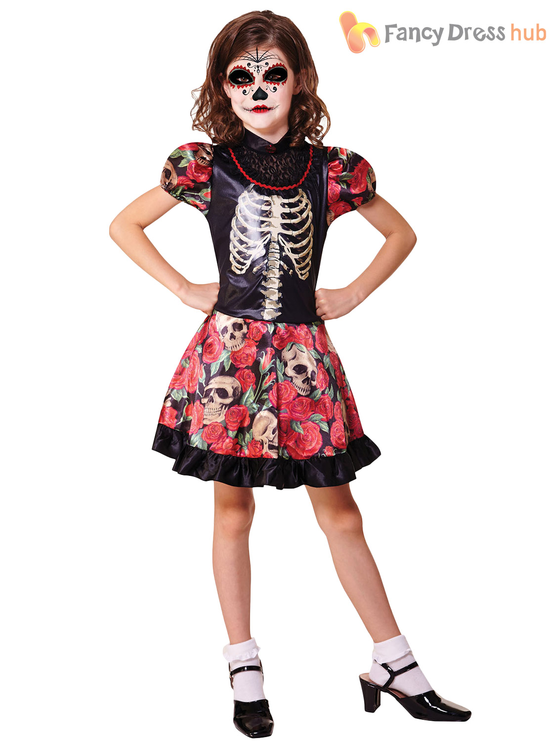 6b9153805d2 Girls Skeleton Sugar Skull Halloween Fancy Dress Day of the Dead ...