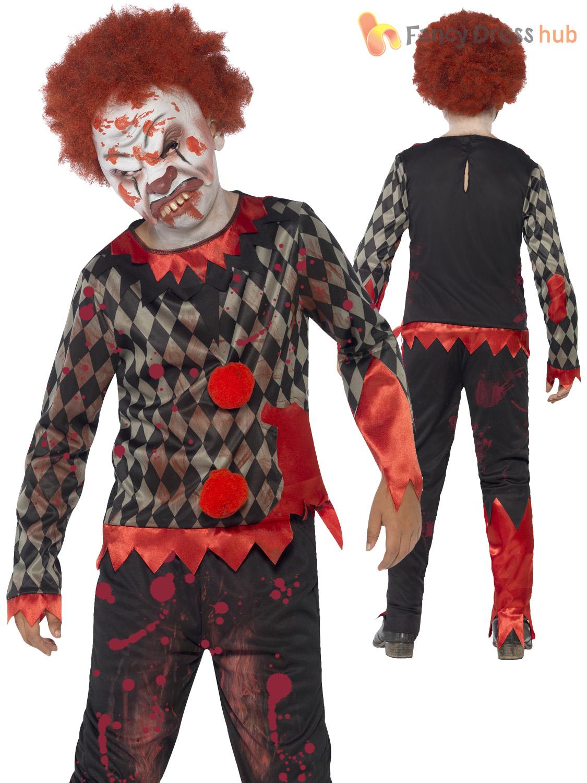 boys zombie scary clown costume evil jester horror halloween fancy dress party ebay. Black Bedroom Furniture Sets. Home Design Ideas