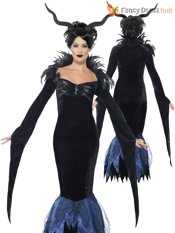 Details About Ladies Evil Queen Costume Raven Maleficent Halloween Book Week Fancy Dress