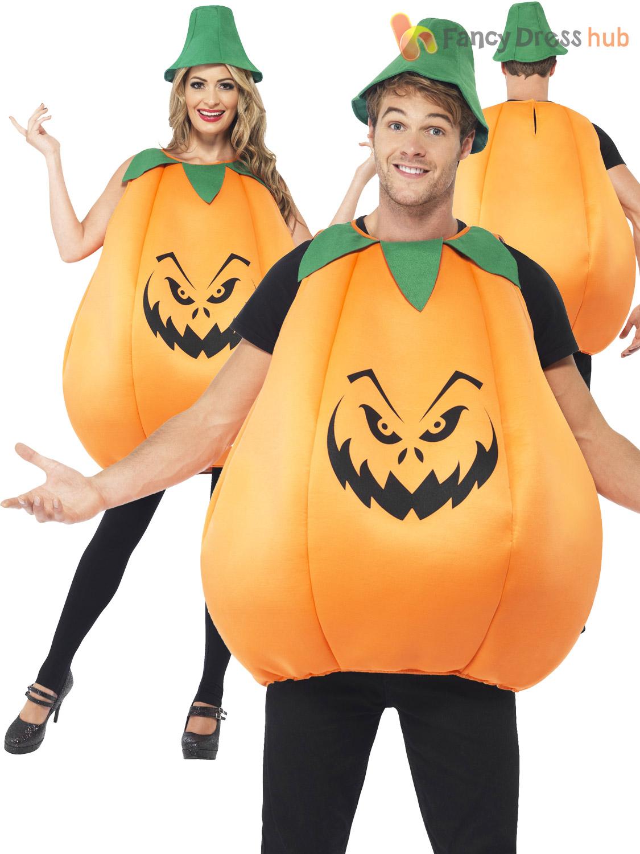 adult pumpkin costume mens ladies funny halloween fancy dress party
