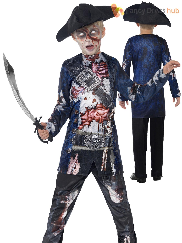 deluxe boys zombie pirate costume halloween fancy dress. Black Bedroom Furniture Sets. Home Design Ideas
