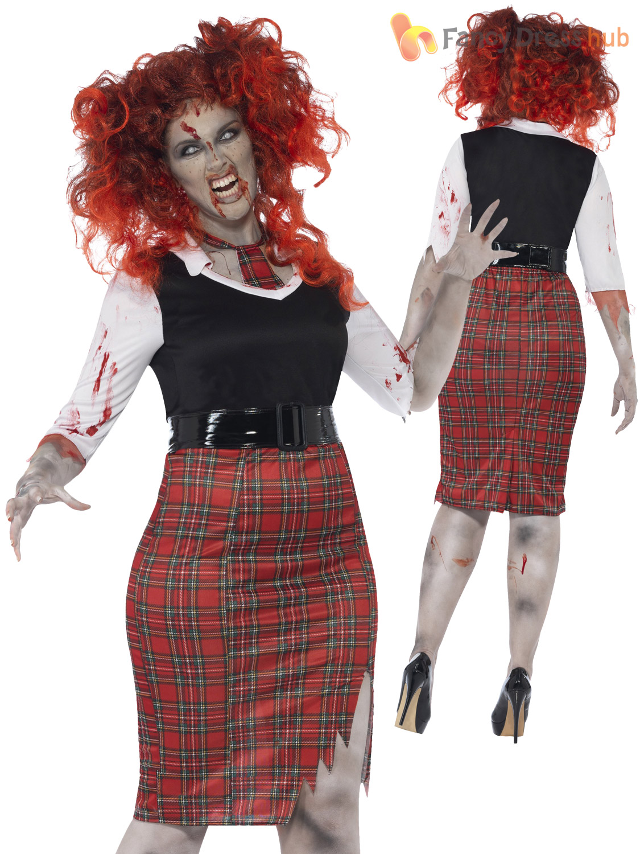 Ladies Plus Size Halloween Costume Zombie Nurse Schoolgirl Vamp Fancy Dress