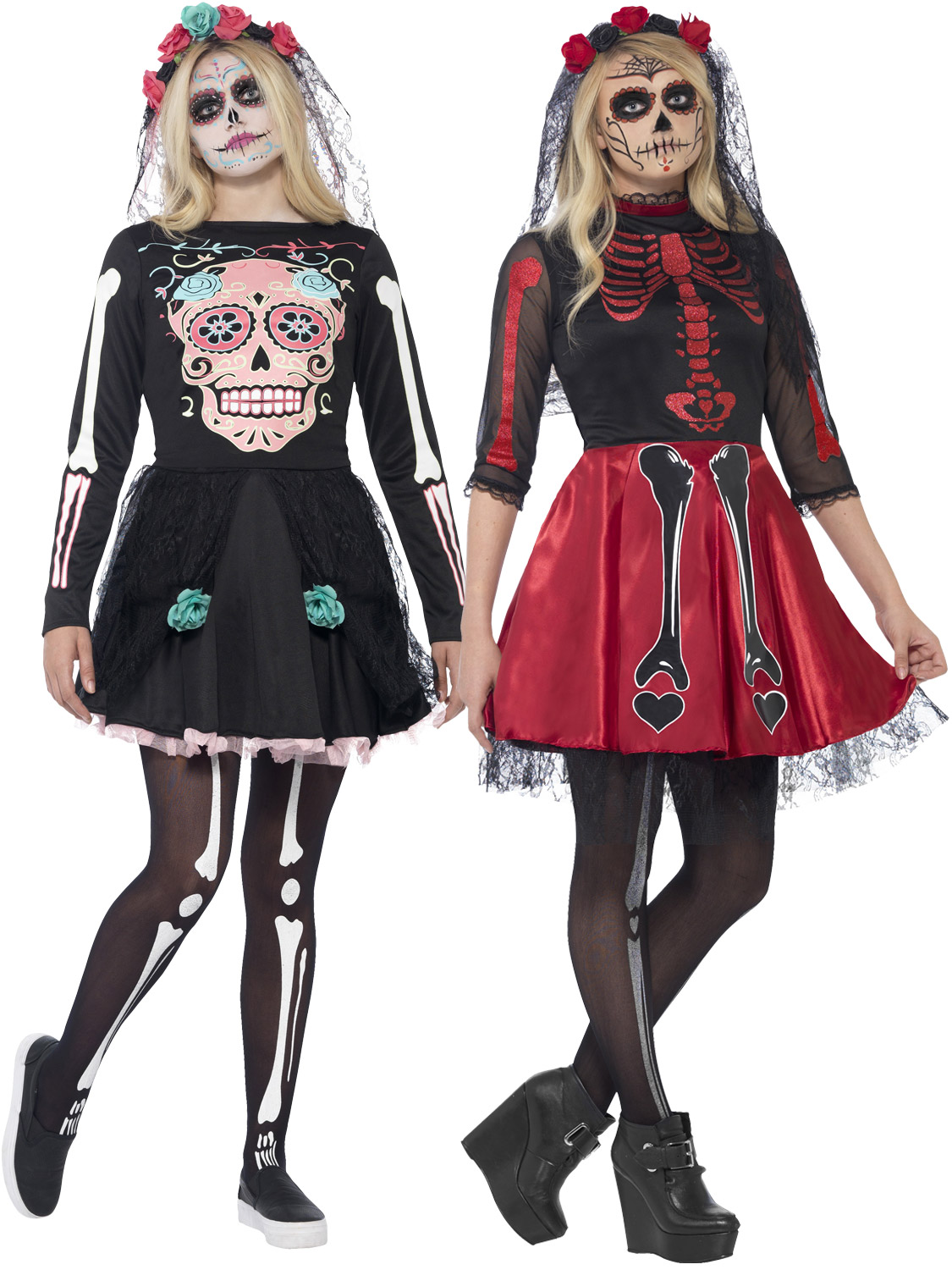 Teen day of the dead diva costume mexicaine halloween fancy dress outfit neuf