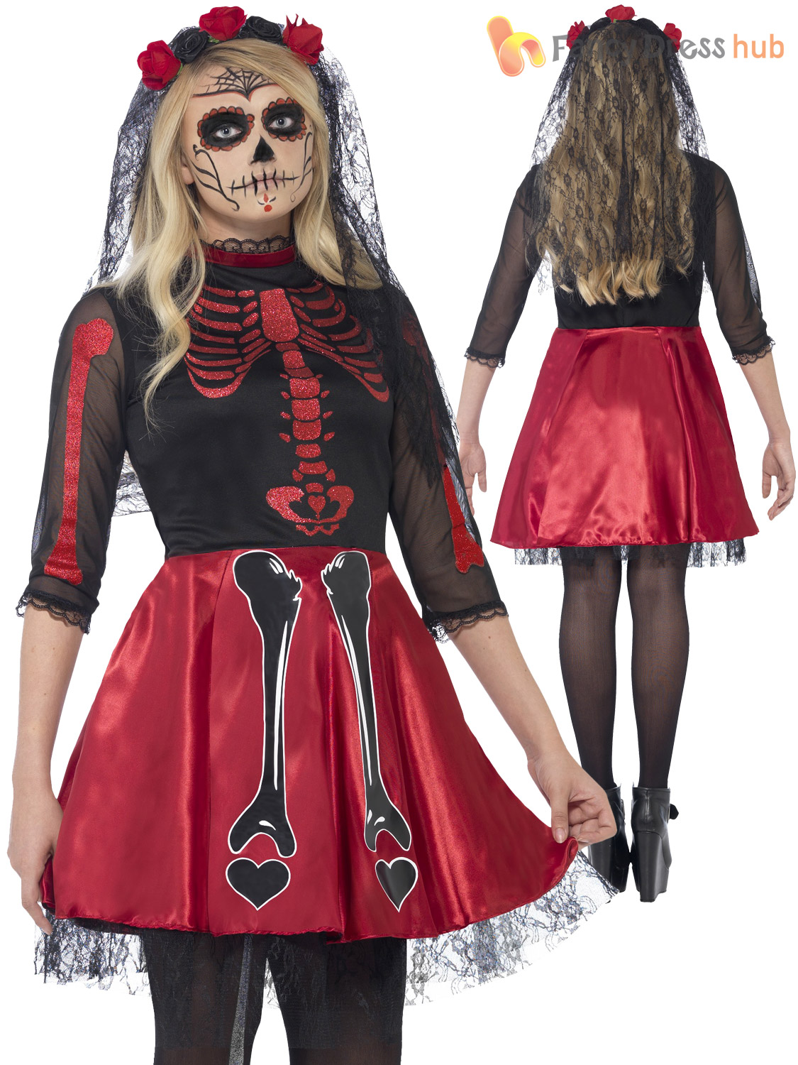 halloween teens ladies day of the dead diva fancy dress costume
