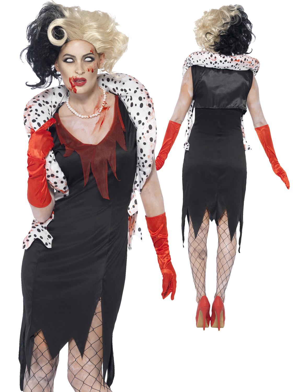 Ladies zombie cruella costume black white wig evil womens image 3 solutioingenieria Gallery