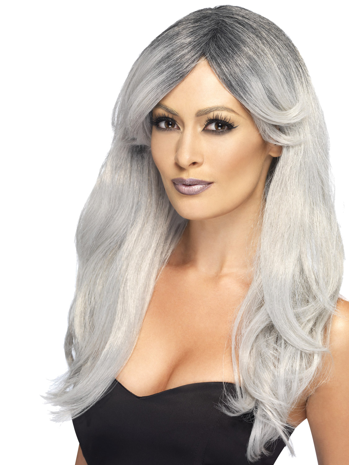 Ladies Gothic Bride Halloween Wig Ghost Witch Long Wavy Fancy Dress Costume