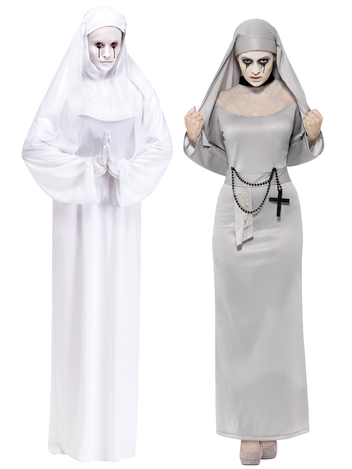 Ladies halloween white ghost mother superior scary mary nun fancy transform yourself into a scary mary with these long zombie ghostly nun costumes solutioingenieria Image collections