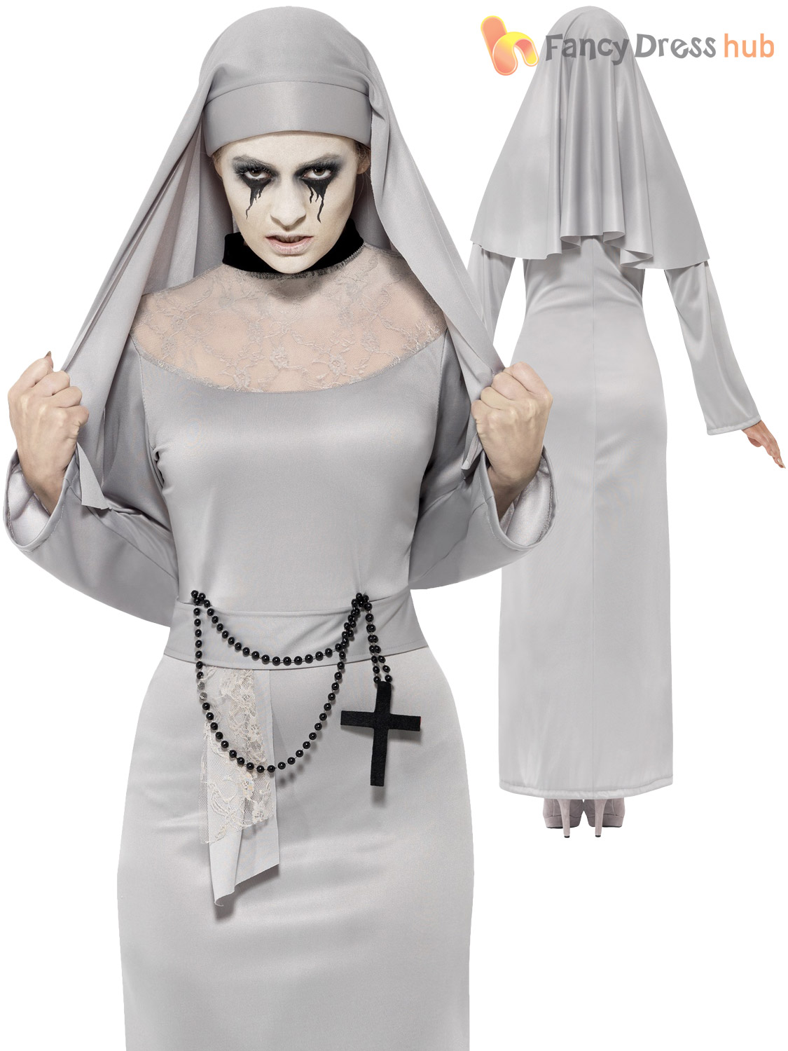 Ladies-Halloween-White-Ghost-Mother-Superior-Scary-Mary-  sc 1 st  eBay & Ladies Halloween White Ghost Mother Superior Scary Mary Nun Fancy ...