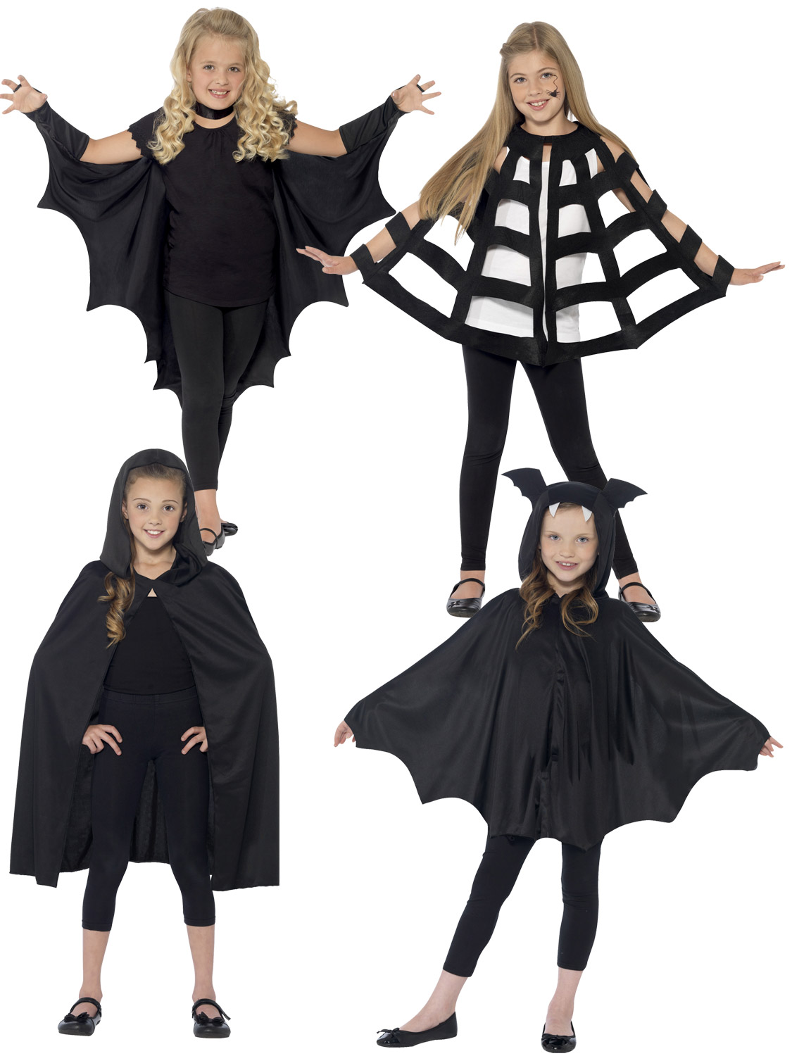 Kids Black Hooded Cloak