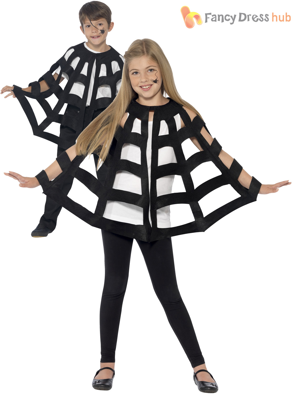 Kids-Halloween-Black-Hooded-Bat-Spider-Cape-Cloak-  sc 1 st  eBay & Kids Halloween Black Hooded Bat Spider Cape Cloak Boys Child Fancy ...