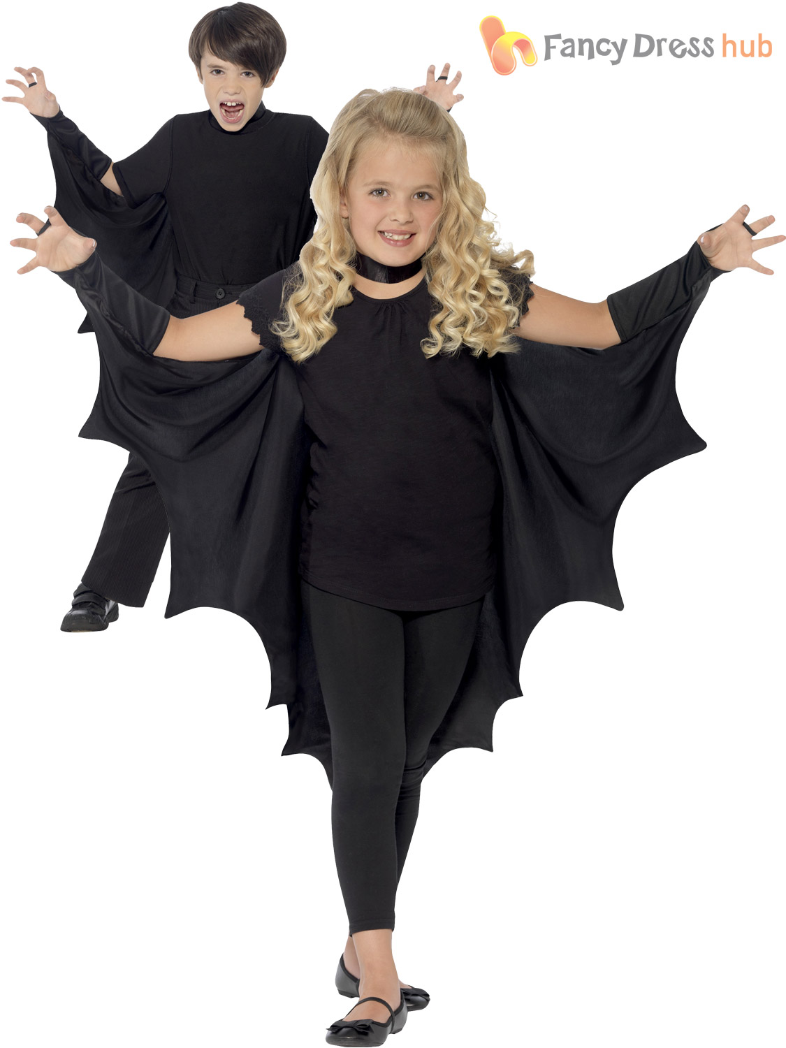 Kids-Halloween-Black-Hooded-Bat-Spider-Cape-Cloak-  sc 1 st  eBay & Kids Halloween Black Hooded Bat Spider Cape Cloak Boys Child Fancy ...