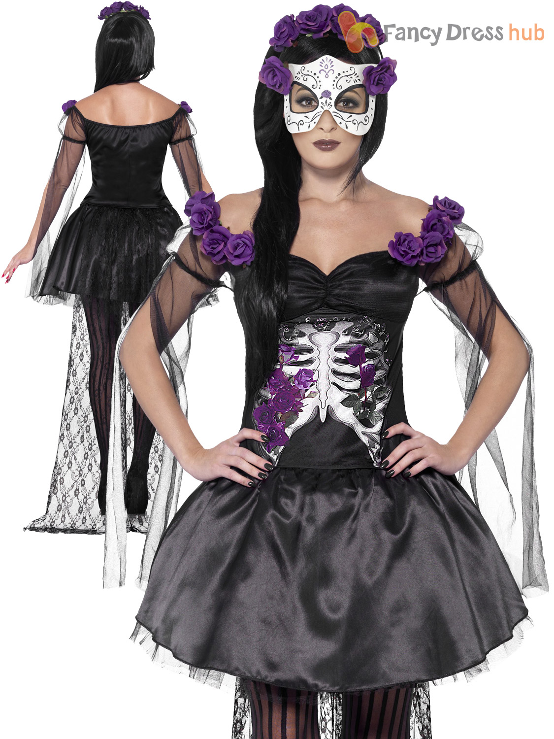 ladies halloween day of the dead zombie corpse bride womens fancy dress costume ebay. Black Bedroom Furniture Sets. Home Design Ideas