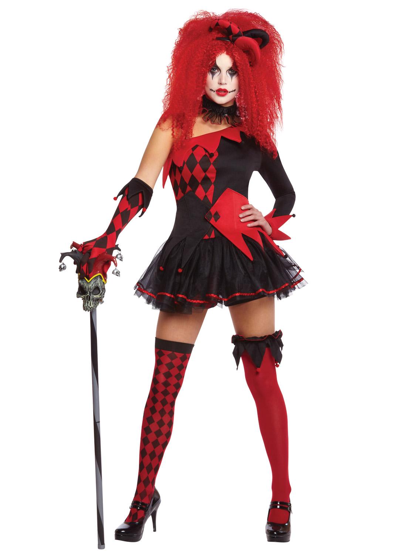Image 3  sc 1 st  eBay & Ladies Harlequin Costume Tricksterina Jester Clown Costume Halloween ...