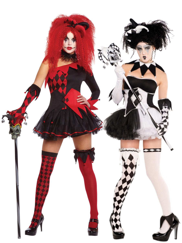 ladies harlequin costume tricksterina jester clown costume halloween fancy dress ebay. Black Bedroom Furniture Sets. Home Design Ideas