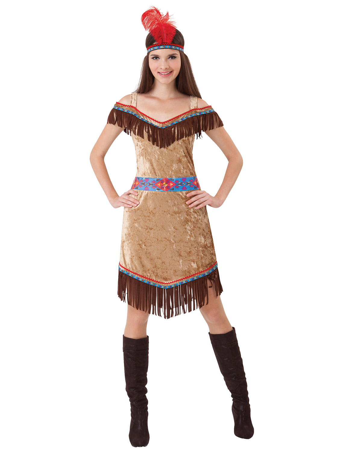 Ladies Deluxe Red Indian Native American Costume -4356