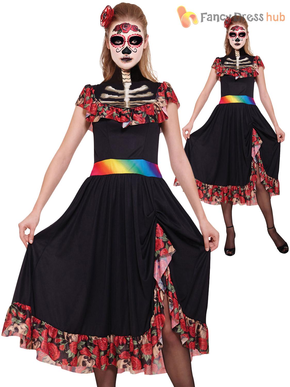 Ladies Day Of The Dead Halloween Skeleton Fancy Dress Costume Size ...