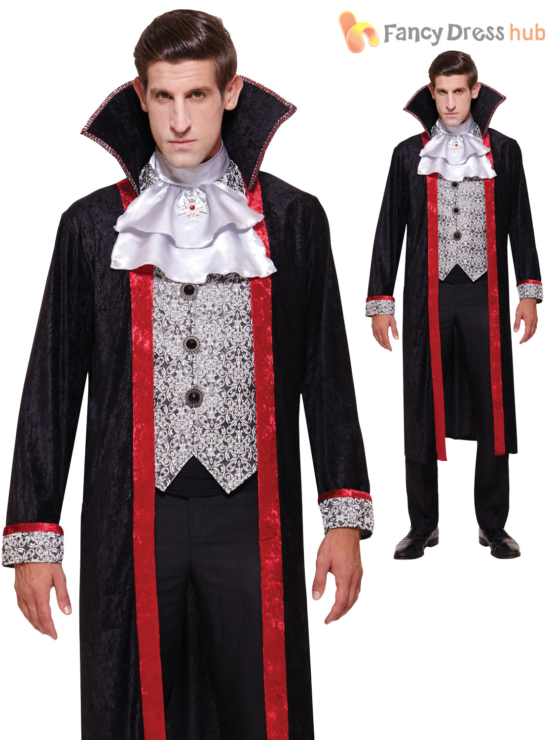 Mens-Deluxe-Gothic-V&ire-Duke-Costume-Halloween-Fancy-  sc 1 st  eBay & Mens Deluxe Gothic Vampire Duke Costume Halloween Fancy Dress Adult ...