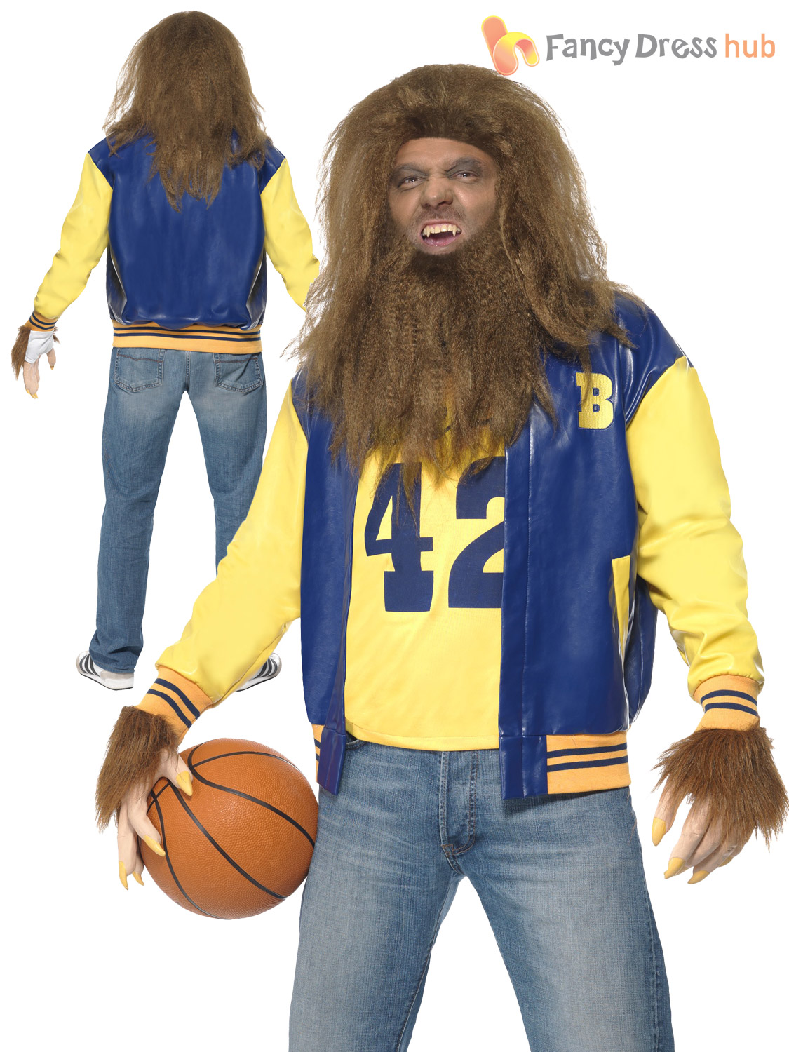 Teen wolf costume wig 80s horror film mens halloween fancy dress teen wolf costume wig 80s horror film mens solutioingenieria Image collections