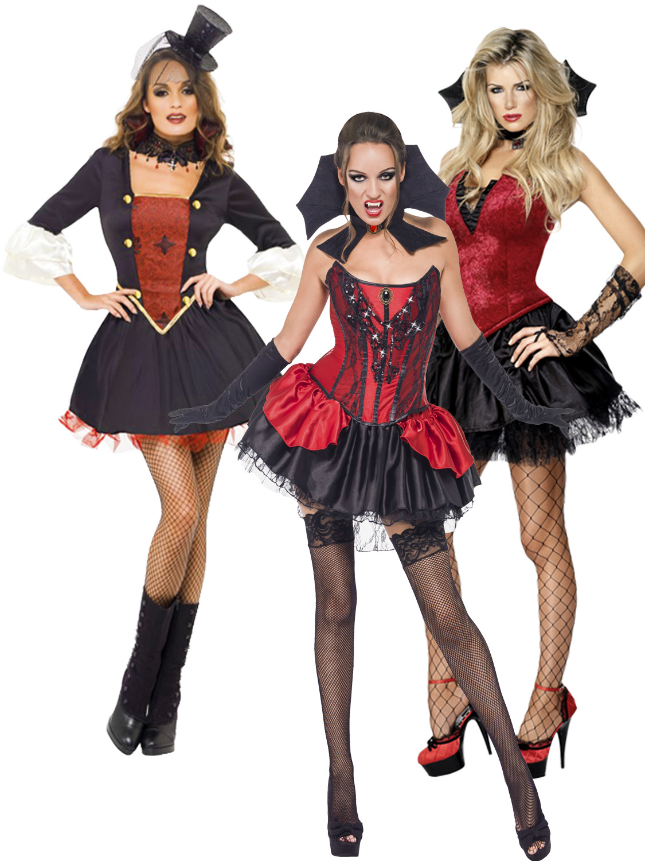 ... Ladies Sexy Fever V&ire Costume V& Halloween Fancy Dress Costume. Image 2  sc 1 st  eBay & Size 8-18 Ladies Sexy Fever Vampire Costume Vamp Halloween Fancy ...