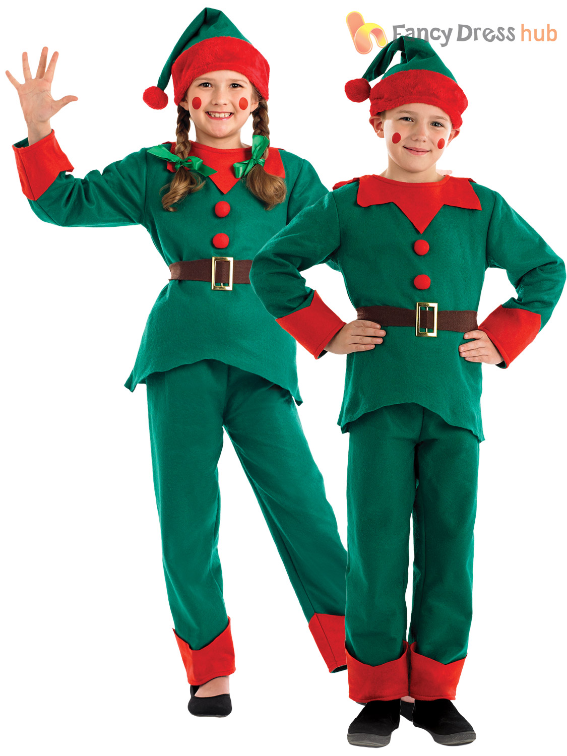 731764f89 Child Elf Costume Boys Girls Christmas Fancy Dress Santas Little ...