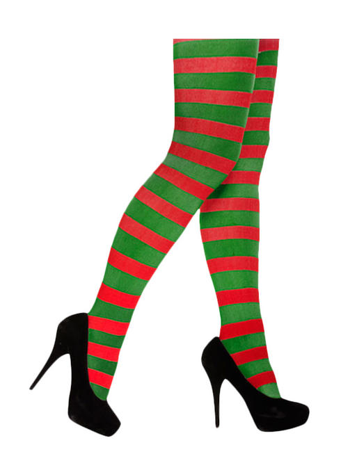 Red & Green Striped Elf Tights
