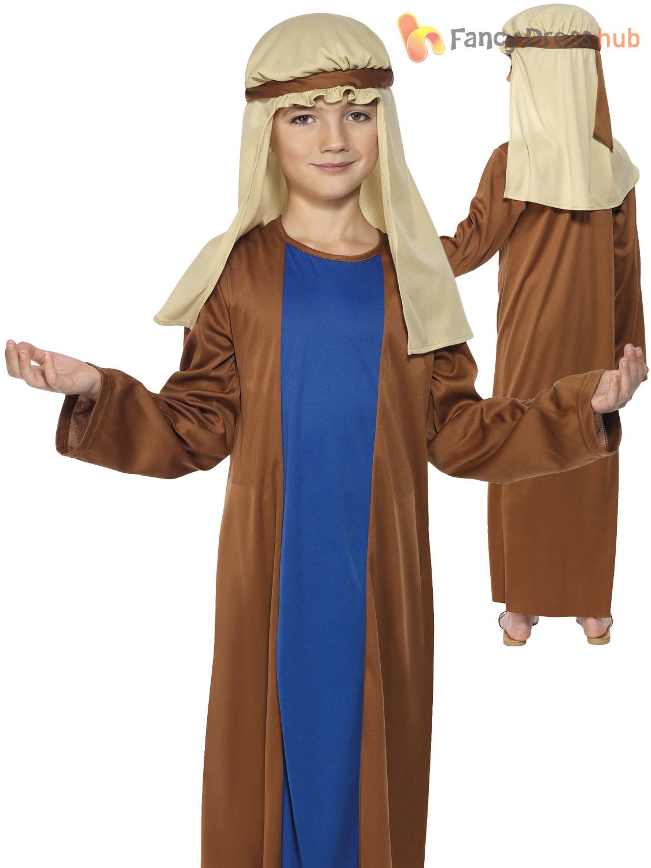 Age-4-12-Boys-Joseph-Shepherd-Nativity-Costume-  sc 1 st  eBay & Age 4-12 Boys Joseph Shepherd Nativity Costume Christmas Fancy Dress ...