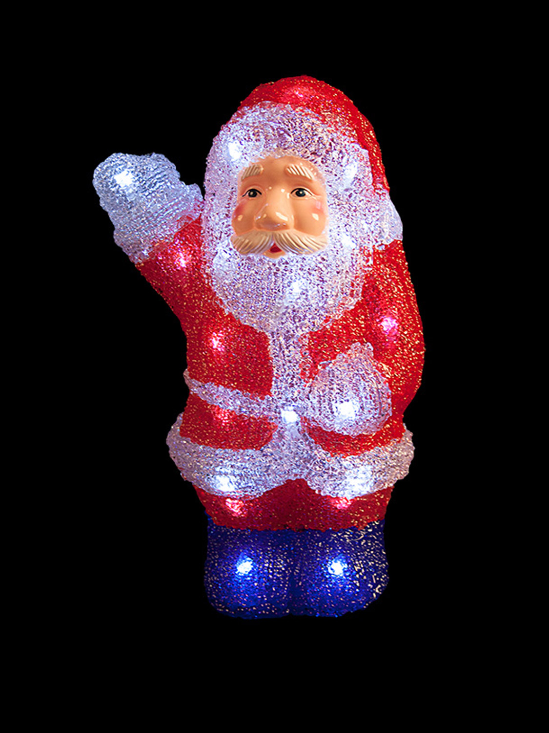Light up acrylic santa snowman reindeer christmas outdoor for Led outdoor christmas ornaments