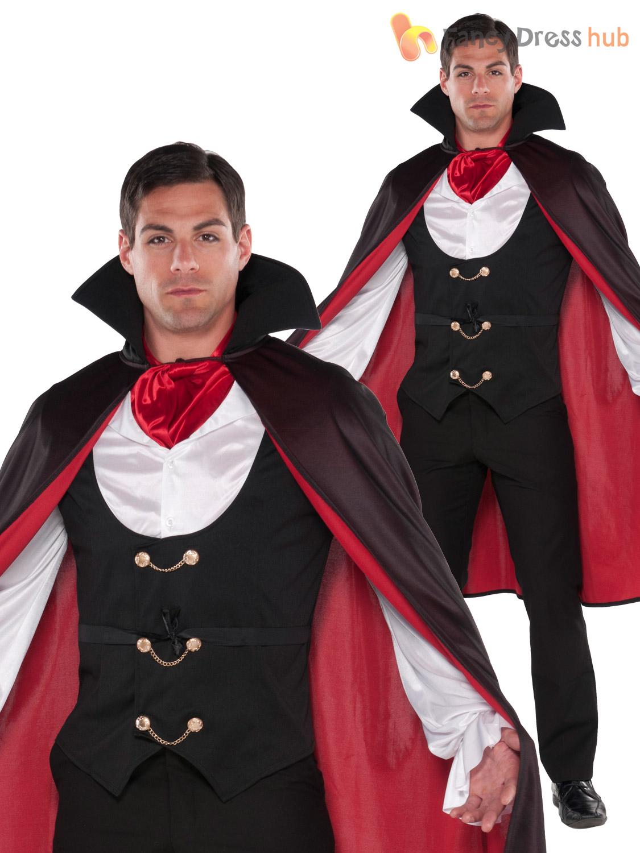 Mens-Cool-V&ire-Halloween-Fancy-Dress-Costume-Cape-  sc 1 st  eBay & Mens Cool Vampire Halloween Fancy Dress Costume + Cape Adult Count ...