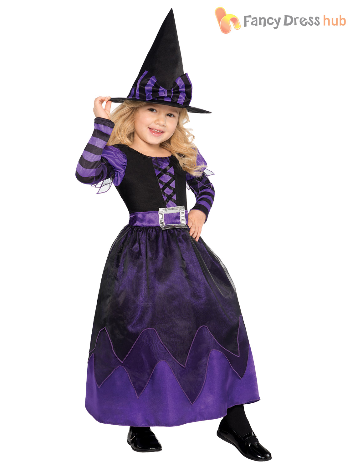 Details about Age 3,10 Girls Halloween Witch Fancy Dress Costume Kids  Childrens Party Witches